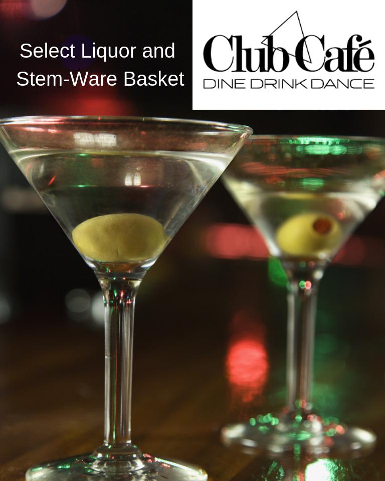 Club Café Liquor and Stemware Basket
